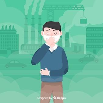 Mens die aan verontreiniging vlakke achtergrond lijdt