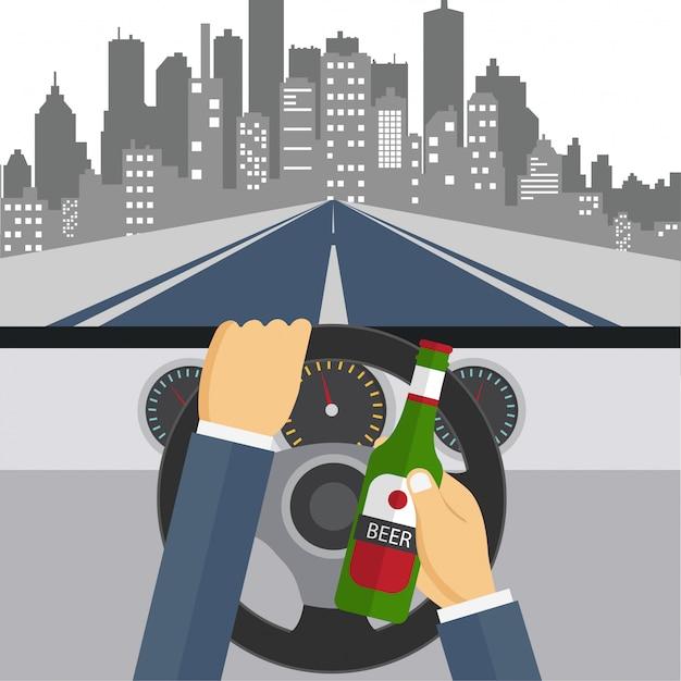 Mens die bier en drijfauto drinkt