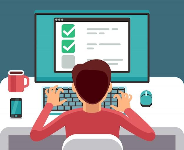 Mens die bij computer online vragenlijstvorm vult. enquête vector plat concept. feedback en vragenlijst online, overzicht en rapportillustratie