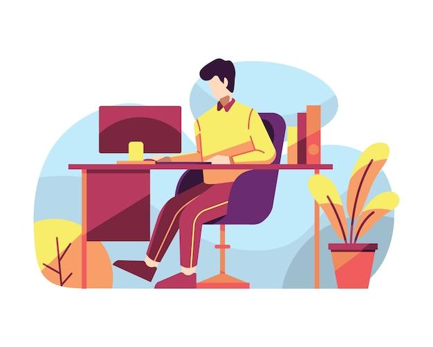Mens die bij zijn bureau vectorillustratie werkt