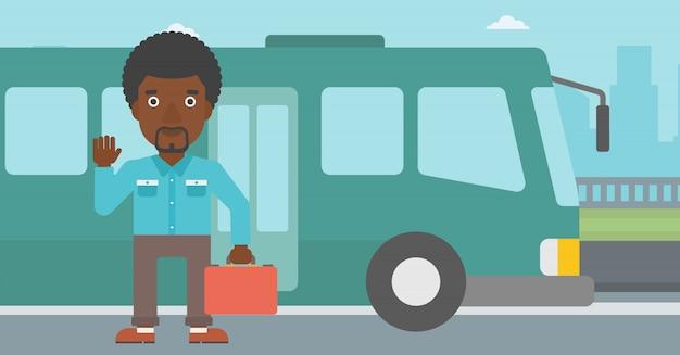 Mens die door bus vectorillustratie reist.