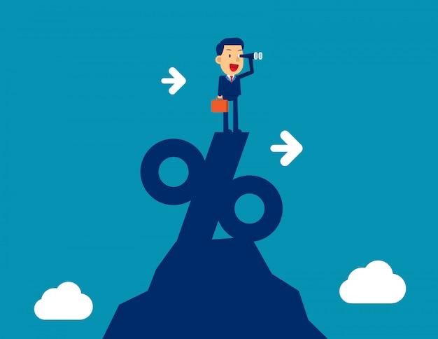 Mens die door telescoop kijkt die zich bovenop percentageteken bevindt. conceptenzaken die vectorillustratie, succesvol op de markt brengen