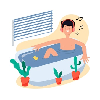 Mens die een bad neemt en aan muziek luistert