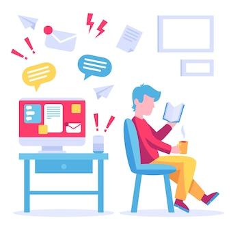 Mens die een boek leest in plaats van te werken