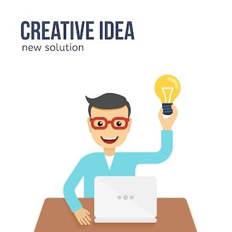 Mens die een creatief idee