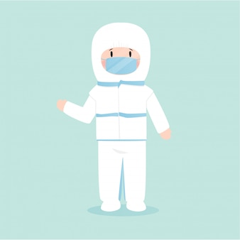 Mens die een masker voor virusbescherming draagt, illustratie in vlakke stijl
