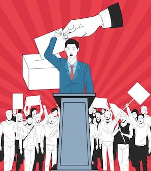 Mens die een toespraak en een publiek met uithangbord en stemming maakt