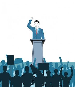 Mens die een toespraak en een publiekssilhouet maakt