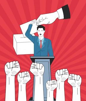 Mens die een toespraak met opgeheven vuistenhanden en stemming maakt