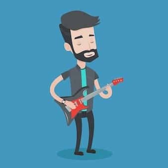 Mens die elektrische gitaarillustratie spelen.