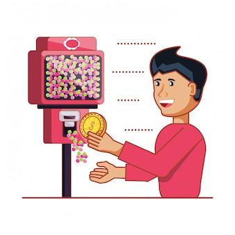 Mens die elektronische automaat van snoepjesmachine met behulp van