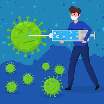 Mens die het virus met grote spuit doodt
