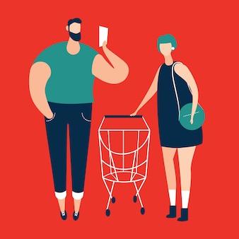 Mens die het winkelen lijst en vrouwen controleren die het winkelen karretje vervoeren bij supermarkt. vector illustratie.