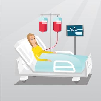Mens die in de vectorillustratie van het ziekenhuisbed ligt.