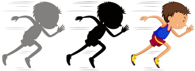 Mens die in race met zijn silhouet loopt