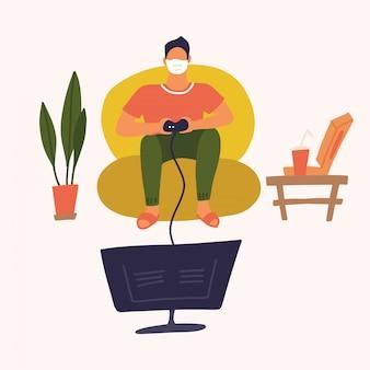 Mens die in vrijetijdskleding gamepade op grote monitor thuis spelen. vlakke afbeelding. coronavirus concept van uitbraak. thuis blijven met zelfquarantaine. thuis afsluiten.