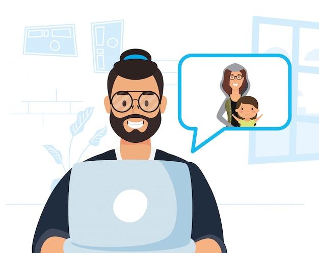 Mens die laptop met behulp van om te communiceren en thuis te blijven