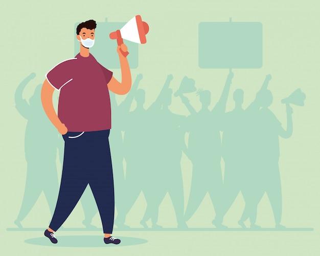 Mens die medisch masker draagt dat met megafoonillustratie protesteert