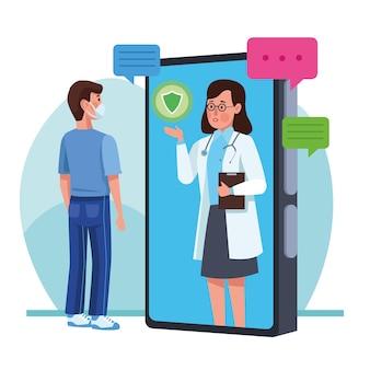 Mens die medisch masker met arts in smartphoneillustratie draagt