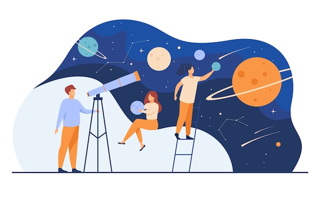 Mens die melkweg door telescoop bestudeert. vrouwen met modellen van planeten, kijken naar meteoren en sterrenbeelden. platte vectorillustratie voor horoscoop, astronomie, ontdekking, astrologie concepten