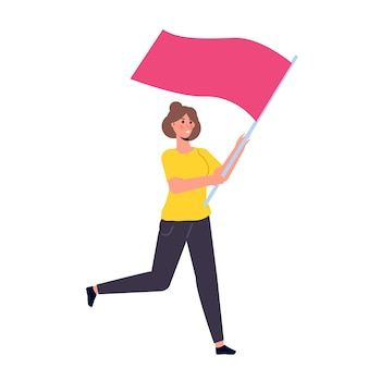 Mens die met een vlag loopt. vector illustratie
