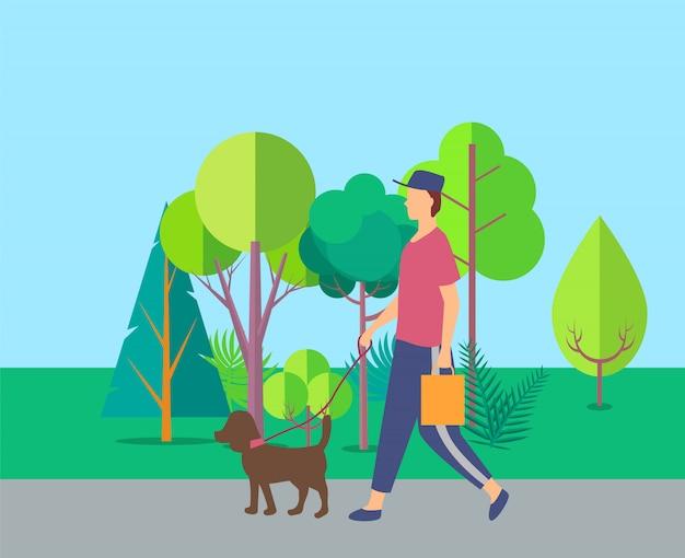 Mens die met hond dichtbij bomen, vrije tijdsvector lopen