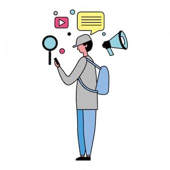 Mens die mobiele en sociale media pictogrammen gebruikt
