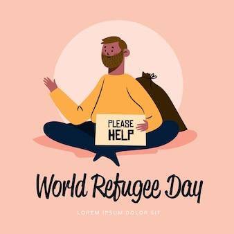 Mens die om dag van de hulp de hand getrokken vluchteling vraagt