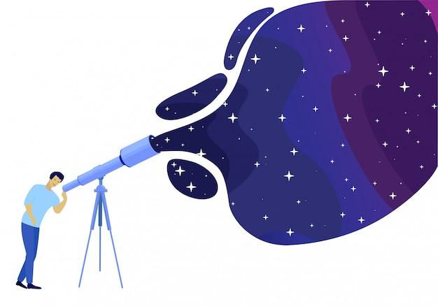 Mens die op nacht sterrige hemel let door telescoop
