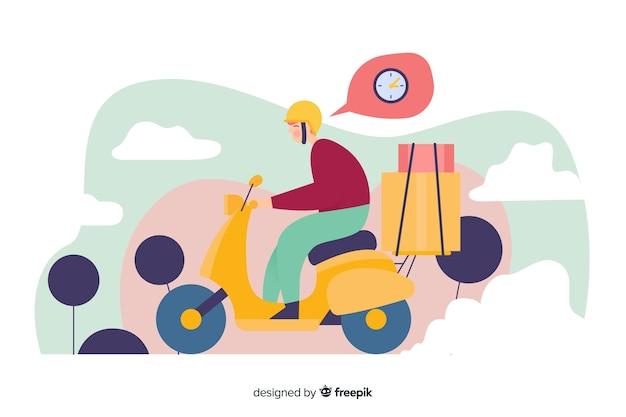 Mens die op scooter tegelijkertijd landende pagina denkt