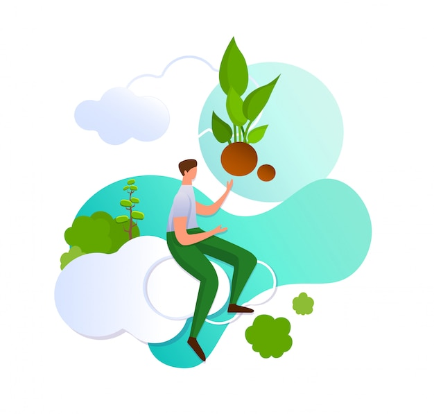 Mens die op wolk met hand op groene spruit richt.