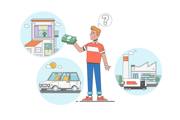 Mens die over huis, investering, fabriek en auto droomt na het verdienen van dollars