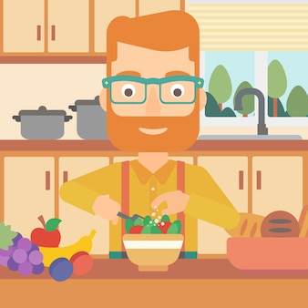 Mens die plantaardige salade kookt.