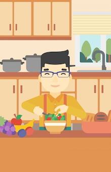 Mens die plantaardige salade vectorillustratie koken.