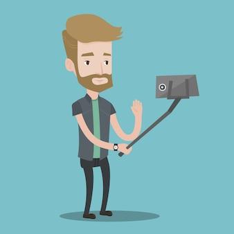Mens die selfie vectorillustratie maakt.