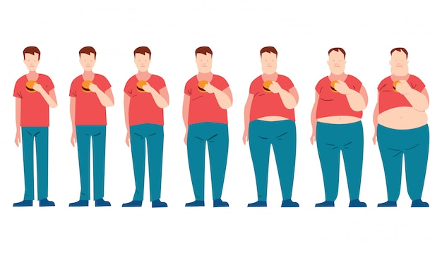 Mens die snel voedsel eet en dikker wordt.