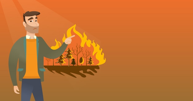 Mens die zich naast wildfire bevindt.