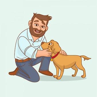 Mens die zijn hond houdt