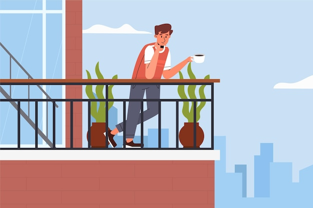 Mens die zijn koffie op staycation van het balkon drinkt
