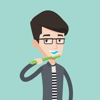 Mens die zijn tandenillustratie borstelt.