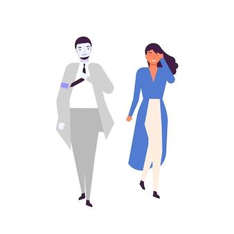 Mens en android lopen samen platte vectorillustratie. gelukkig jonge vrouw en humanoïde cyborg in pak stripfiguren. mensen en robots, geavanceerd kunstmatige intelligentieconcept.