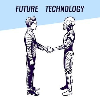Mens en robot handenschudden
