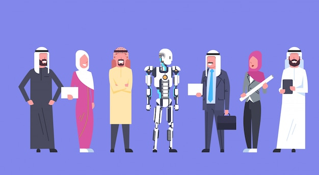 Mens en robot-samenwerking, arabische bedrijfsmensengroep met modern robotachtig, kunstmatige intelligentieconcept