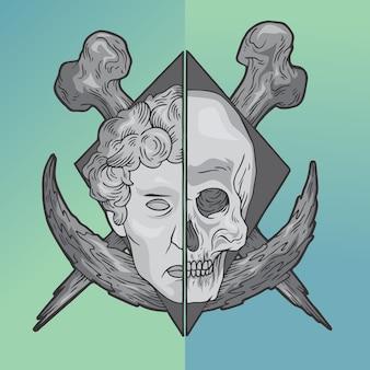 Mens en schedel