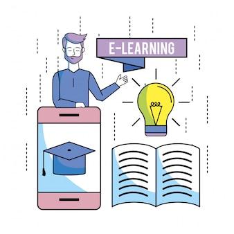 Mens en smartphone met glb-graduatie en boek