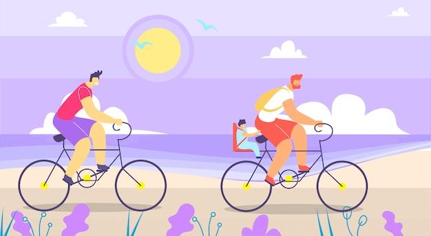 Mens en vader met baby op bike walk cartoon