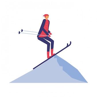 Mens het praktizeren ski in het de winterlandschap