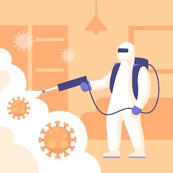 Mens in hazmatkostuum dat de virusdesinfectie schoonmaakt