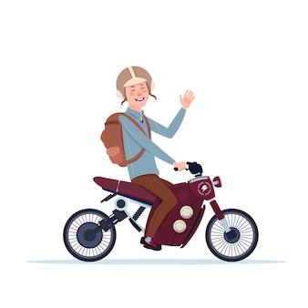 Mens in helm berijdende motorfiets of motor die op witte achtergrond wordt geïsoleerd