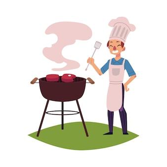 Mens in het kokende vlees van de chef-kokhoed op barbecuegrill